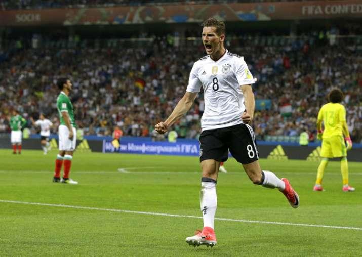 Leon Goretzka celebrates after scoring a goal against