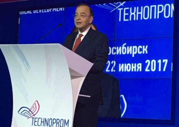 Jaitley addresses the plenary of TECHNOPROM 2017