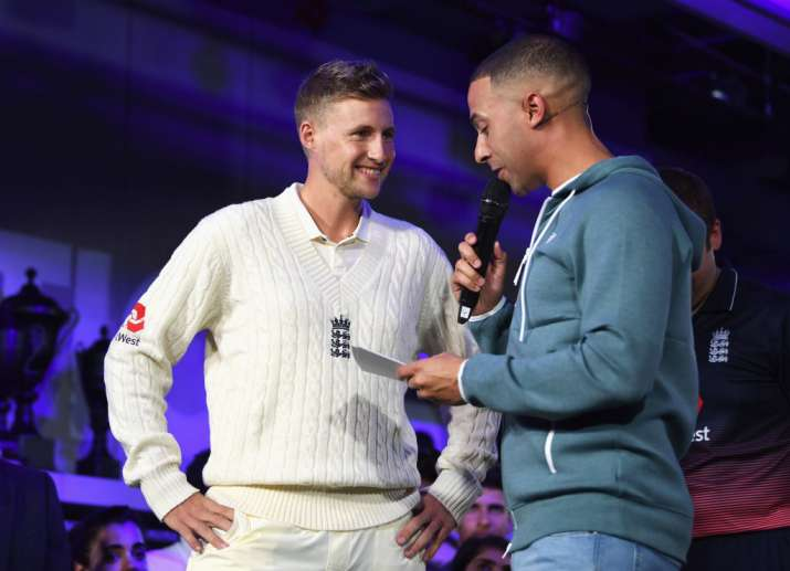 Joe Root, England Test captain talks with TV presenter