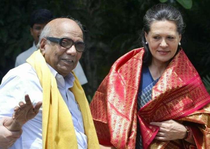File pic of Karunanidhi and Sonia Gandhi