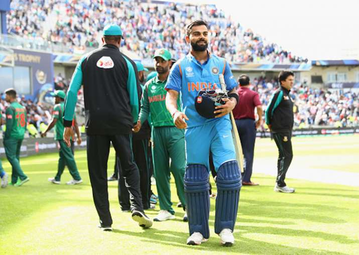 Virat Kohli celebrates the victory against Bangladesh in
