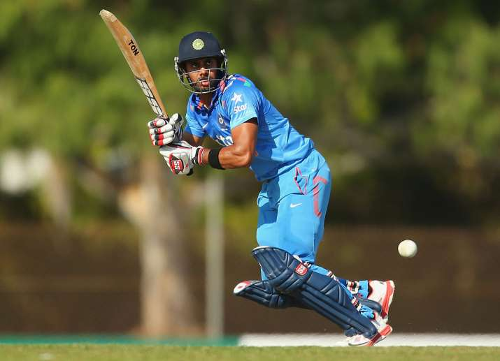 Manoj Tiwary of India in action