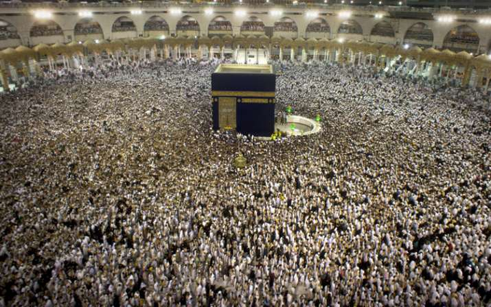 Pilgrims at the Grand Mosque in Mecca during the holy month