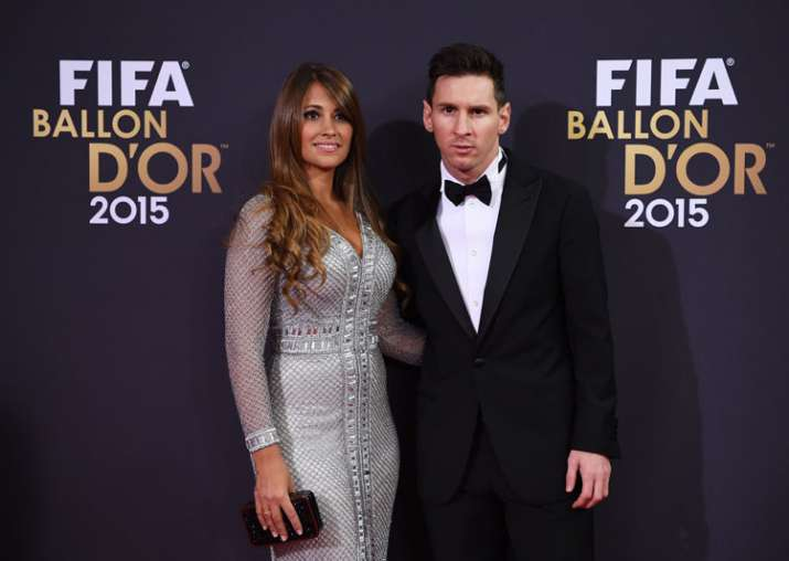 A file picture of Lionel Messi and Antonela Roccuzzo.