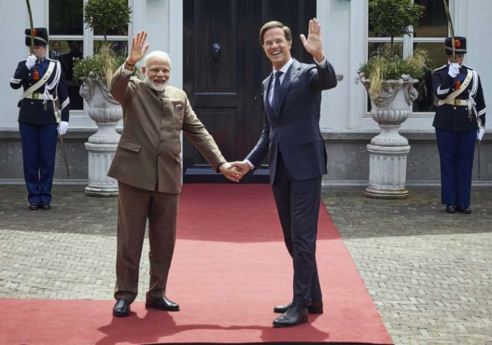 Narendra Modi with Dutch Prime Minister Mark Rutte in The