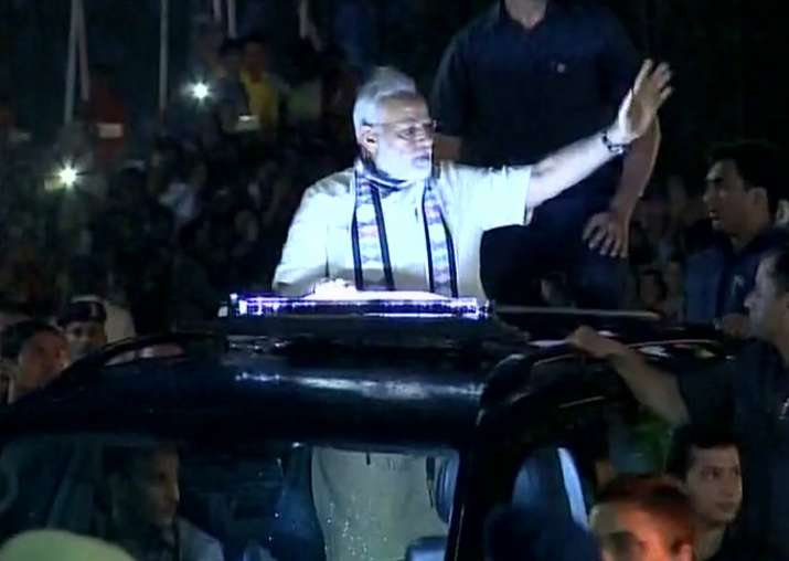 PM Modi roadshow in Rajkot