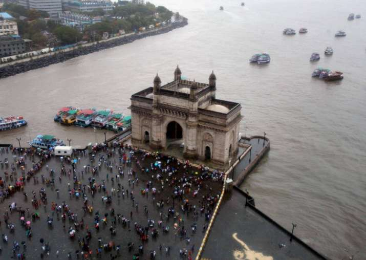 Ariel view of Gateway of India as monsoon start South