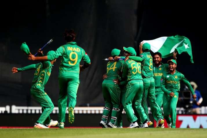 Pakistan team celebrate winning the ICC Champions Trophy