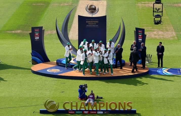 Pakistan team celebrates after winning the final of ICC