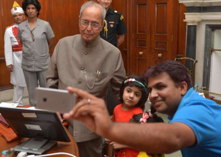 President Mukherjee launches 'Selfie with Daughter' mobile