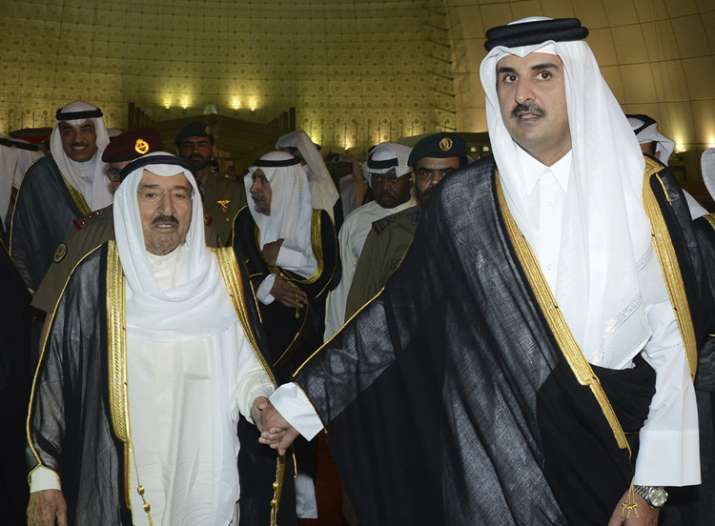 Kuwait's Emir Sheikh Sabah Al Ahmad Al Sabah with Qatar's