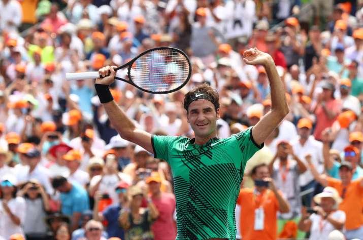 Roger Federer of Switzerland celebrates match point