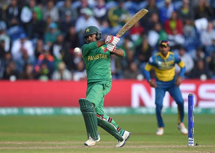 Sarfraz Ahmed plays a shot against Sri Lanka.