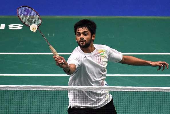 Sai Praneeth of India plays a shot during a match