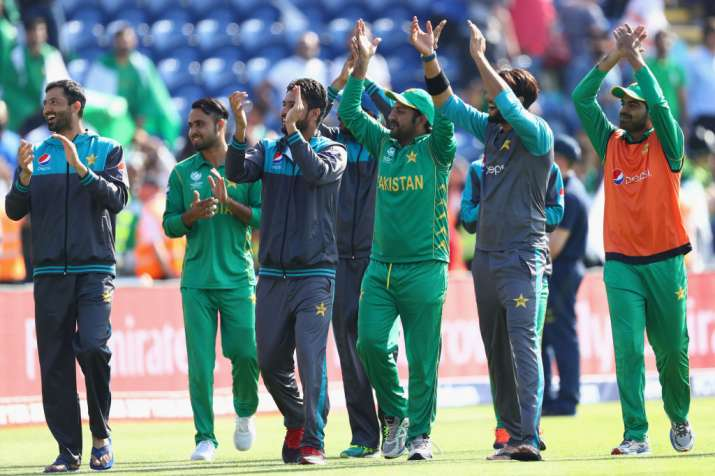 Sarfraz Ahmed (C) the captain of Pakistan on a lap of