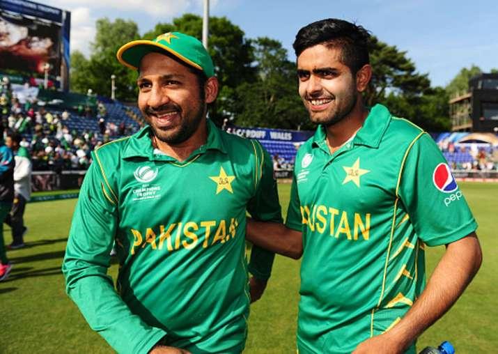 Sarfraz Ahmed celebrates with Babar Azam after Pakistan's