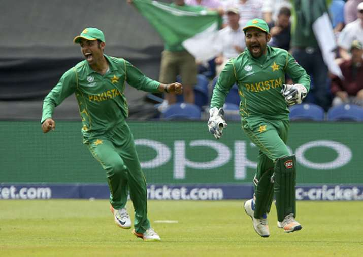 Pakistan captain Sarfraz Ahmed celebrates after beating