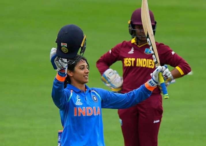 Smriti Mandhana celebrates her century during the ICC