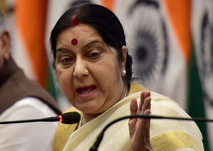 Sushma Swaraj during the MEA's annual press Conference in