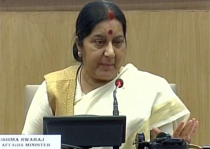 Sushma Swaraj speaks to media in New Delhi