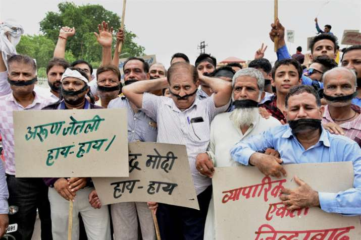 India Tv - Textile traders protest against the GST in Bikaner on Wednesday