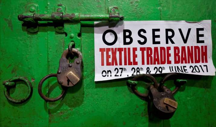 India Tv - A closed shop at Burrabazar during a bandh against GST in Kolkata on Wednesday