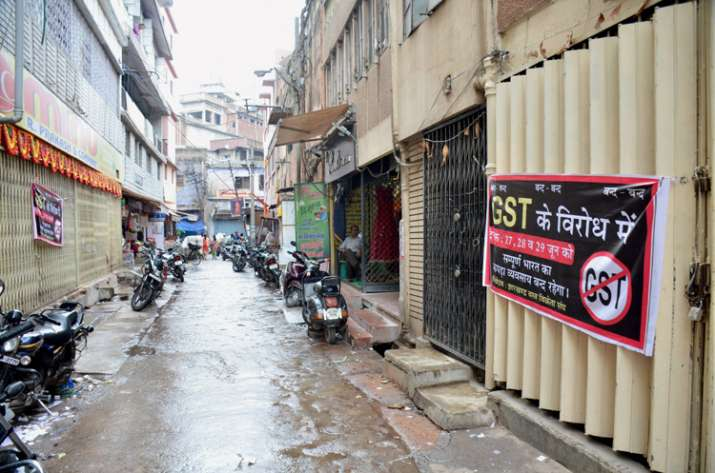 India Tv - Closed shops during a protest by cloth merchants against GST in Ranchi