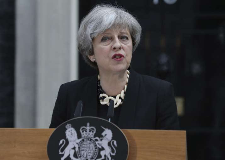 Britain's PM Theresa May makes a statement on terrorist