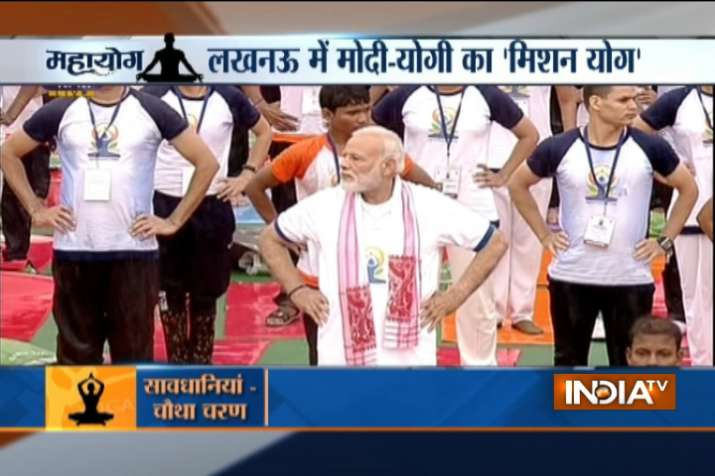 PM Modi at Yoga Day celebrations in Lucknow