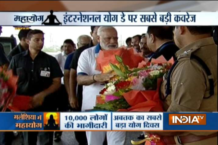 India Tv - PM Modi arrives at International Yoga Day celebrations in Lucknow