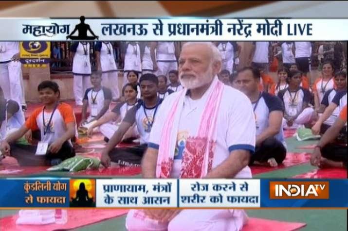 India Tv - PM Modi performs Yoga in Lucknow
