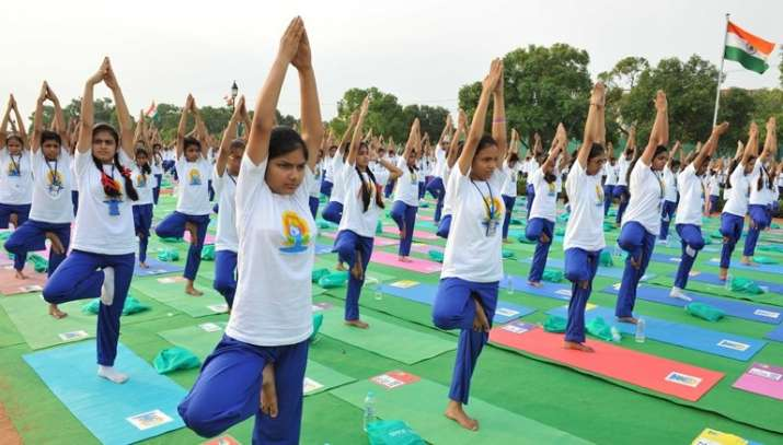 India Tv - Children participating in Yoga Day