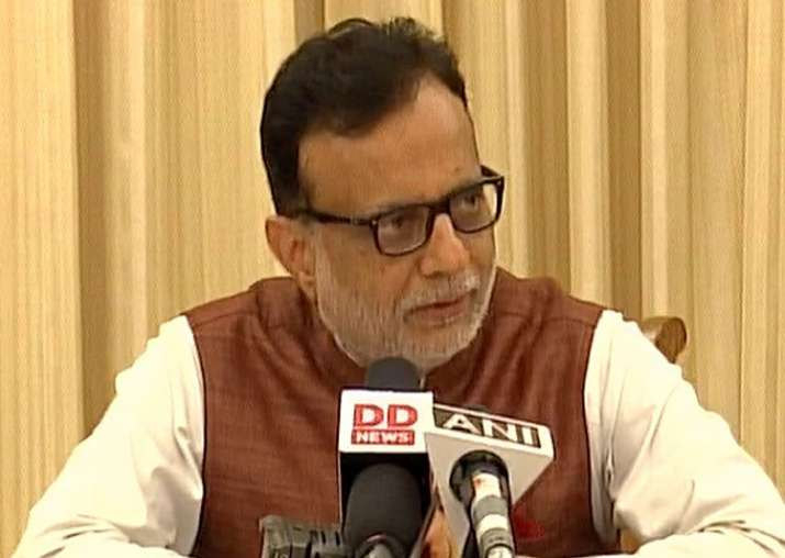 Revenue Secretary Hasmukh Adhia addressing media in New
