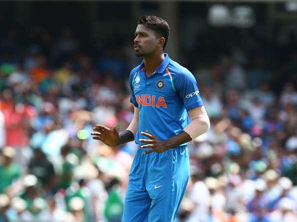 Hardik Pandya of India during the match