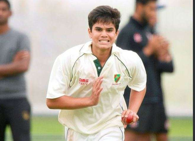 Arjun Tendulkar during a nets session