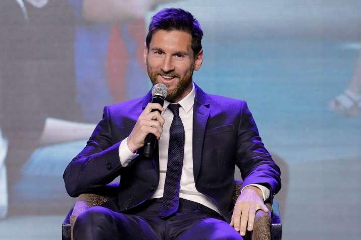 Barcelona's striker Lionel Messi speaks during a news
