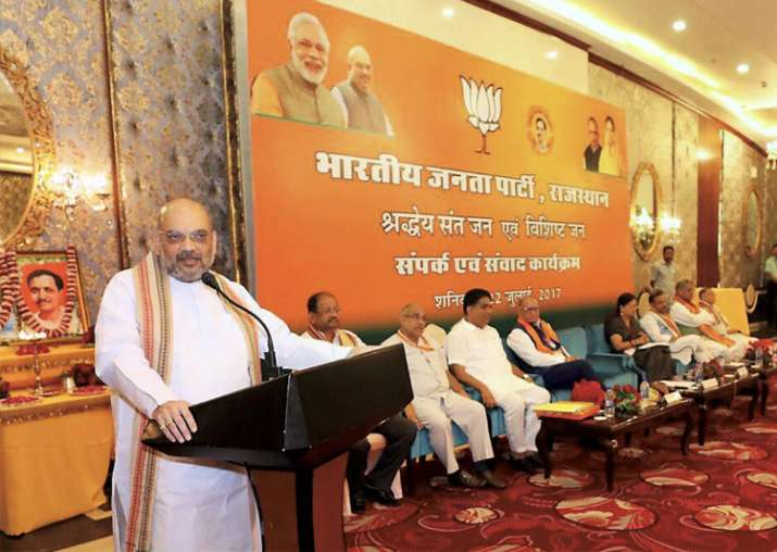 Amit Shah addressing a meeting of Saints and Eminent