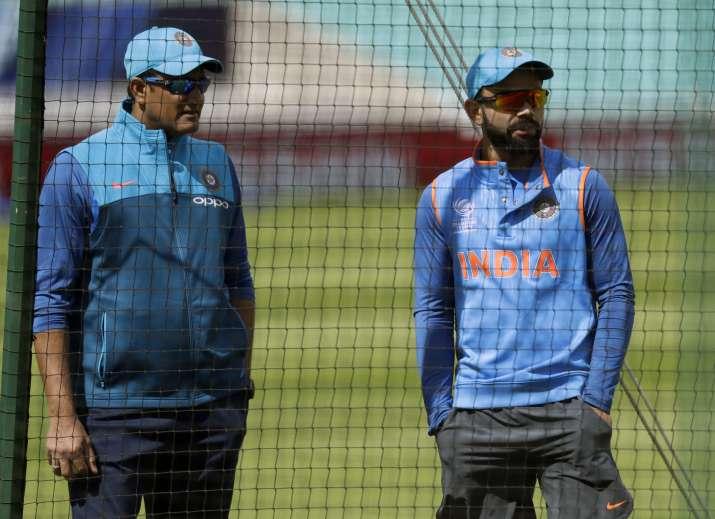 Anil Kumble and Virat Kohli during a nets session