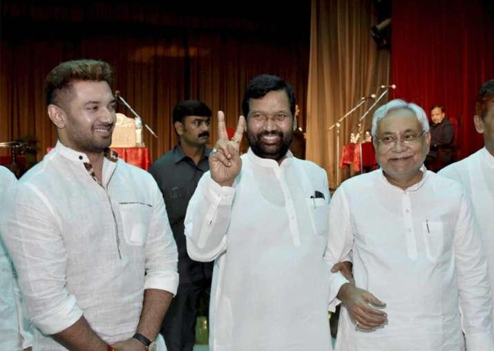 India Tv - Nitish Kumar along with Ram Vilash Paswan and MP Chirag Paswan at Raj Bhawan