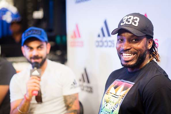 Chris Gayle at inaugural ceremony of a new store in