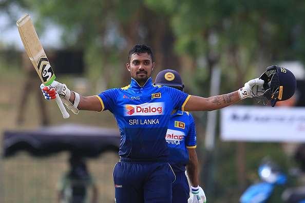 Danushka Gunathilaka celebrates after scoring a century