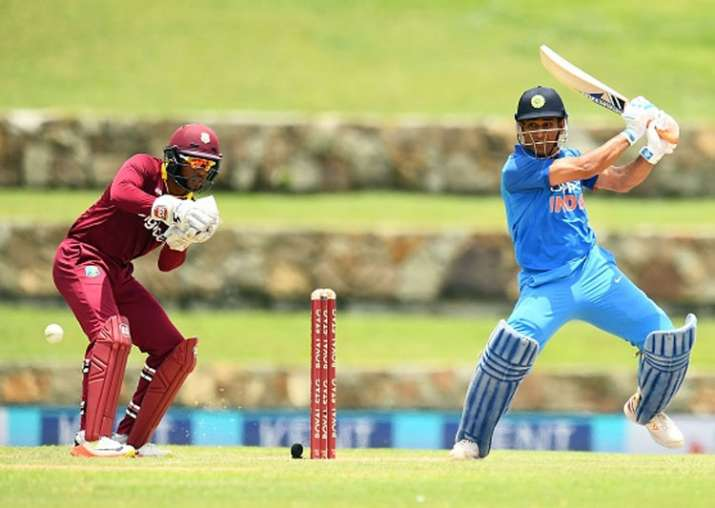 MS Dhoni plays a shot against West Indies.