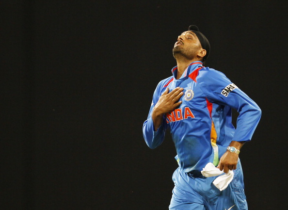 Harbhajan Singh celebrates after the wicket