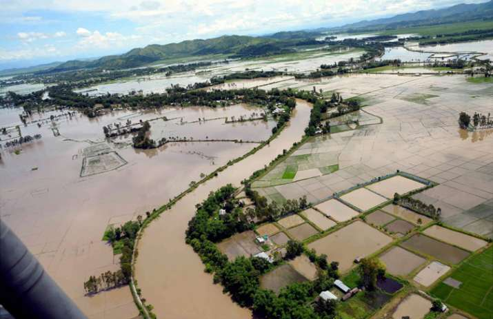 An aerial view of the flood affected areas in Imphal,