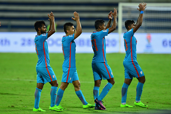Indian team players along with their captain Sunil Chhetri