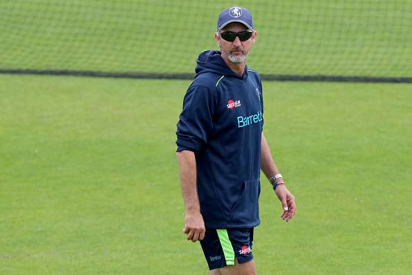 Jason Gillespie keeps a watchful eye during the warm-up