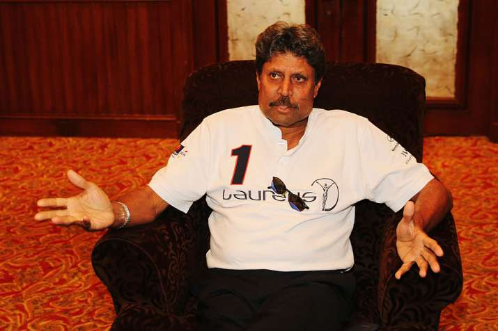 Kapil Dev speaks during a press interview