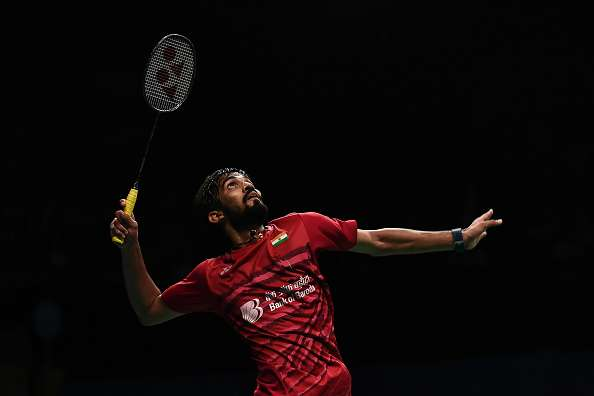 Kidambi Srikanth of India competes against Son Wan Ho