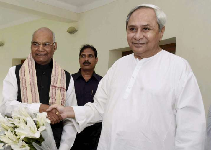 Naveen Patnaik greets Ram Nath Kovind at a meeting at