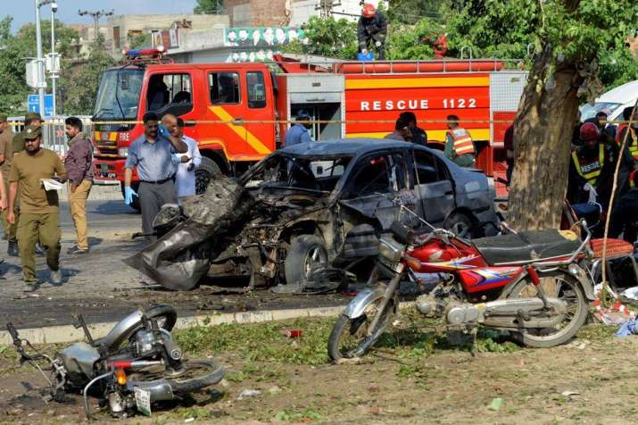 Rescue vehicle at the site of suicide bombing in Lahore
